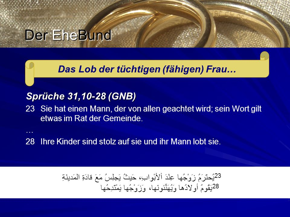 يُحتَرَمُ زَوْجُها عِنْدَ ألأبْوابِ، حَيثُ يَجلِسُ مَعَ قادَةِ المَدينَةِ 23 يَقُومُ أولادُها وَيُهَنِّئونَها، وَزَوْجُها يَمْتَدِحُها 28 Das Lob der tüchtigen (fähigen) Frau… Sprüche 31,10-28 (GNB) 23 Sie hat einen Mann, der von allen geachtet wird; sein Wort gilt etwas im Rat der Gemeinde.