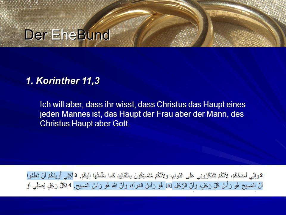 1. Korinther 11,3 Ich will aber, dass ihr wisst, dass Christus das Haupt eines jeden Mannes ist, das Haupt der Frau aber der Mann, des Christus Haupt