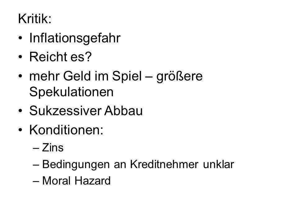 Kritik: Inflationsgefahr Reicht es.