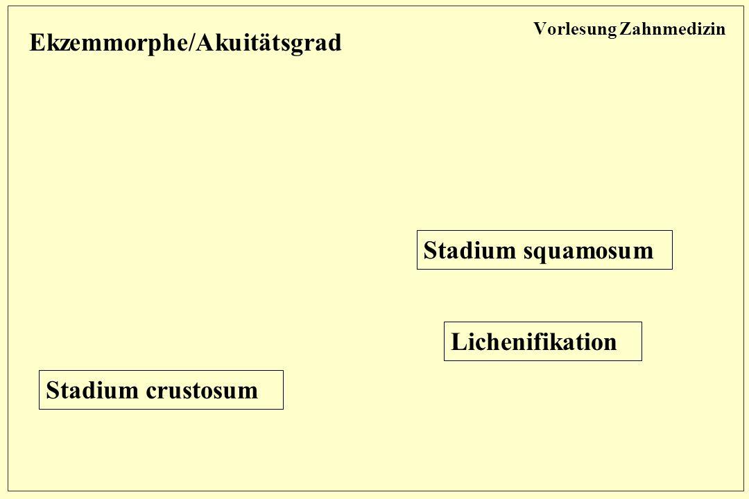 Vorlesung Zahnmedizin Ekzemmorphe/Akuitätsgrad Stadium squamosum Stadium crustosum Lichenifikation