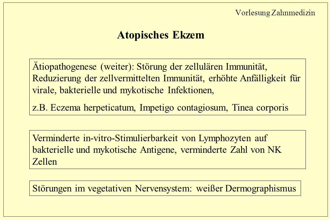 Vorlesung Zahnmedizin Atopisches Ekzem Ätiopathogenese (weiter): Störung der zellulären Immunität, Reduzierung der zellvermittelten Immunität, erhöhte Anfälligkeit für virale, bakterielle und mykotische Infektionen, z.B.