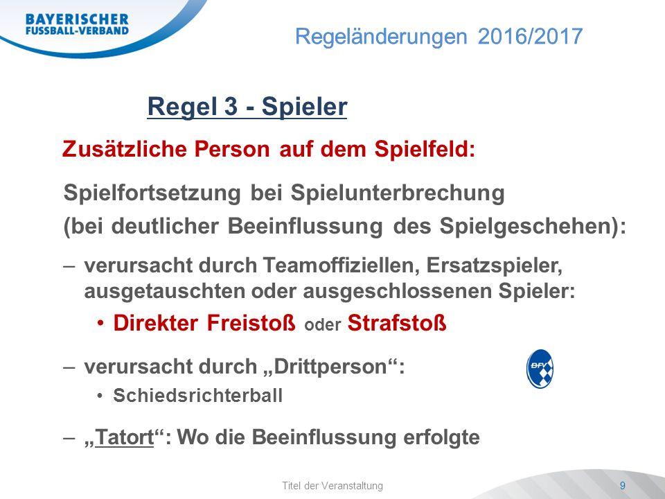 Regeländerungen 2016/2017 Spielgruppentagungen Saison 2016/1720 Regel 12 - Fouls und unsp.