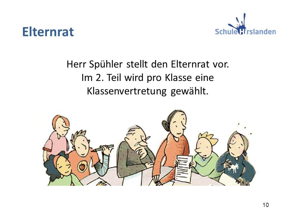 Herr Spühler stellt den Elternrat vor. Im 2. Teil wird pro Klasse eine Klassenvertretung gewählt. Elternrat 10