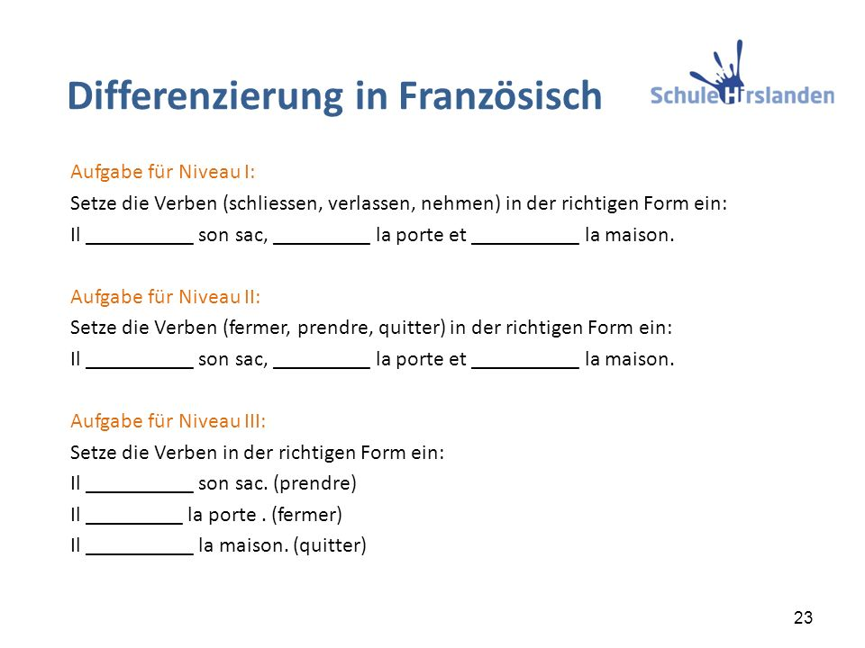 Differenzierung in Französisch 23 Aufgabe für Niveau I: Setze die Verben (schliessen, verlassen, nehmen) in der richtigen Form ein: Il __________ son sac, _________ la porte et __________ la maison.