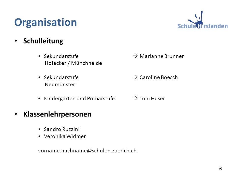 Schulleitung Sekundarstufe  Marianne Brunner Hofacker / Münchhalde Sekundarstufe  Caroline Boesch Neumünster Kindergarten und Primarstufe  Toni Hus