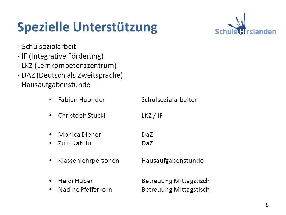 - Schulsozialarbeit - IF (Integrative Förderung) - LKZ (Lernkompetenzzentrum) - DAZ (Deutsch als Zweitsprache) - Hausaufgabenstunde Fabian HuonderSchu