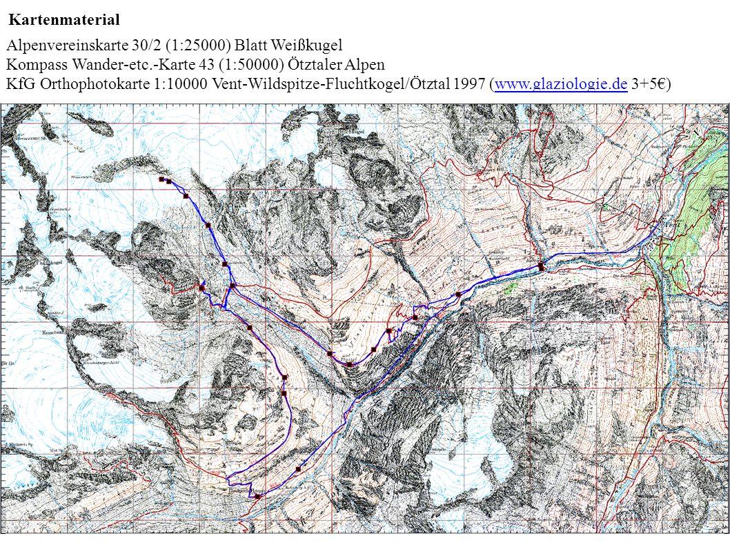 Kartenmaterial Alpenvereinskarte 30/2 (1:25000) Blatt Weißkugel Kompass Wander-etc.-Karte 43 (1:50000) Ötztaler Alpen KfG Orthophotokarte 1:10000 Vent-Wildspitze-Fluchtkogel/Ötztal 1997 (www.glaziologie.de 3+5€)www.glaziologie.de