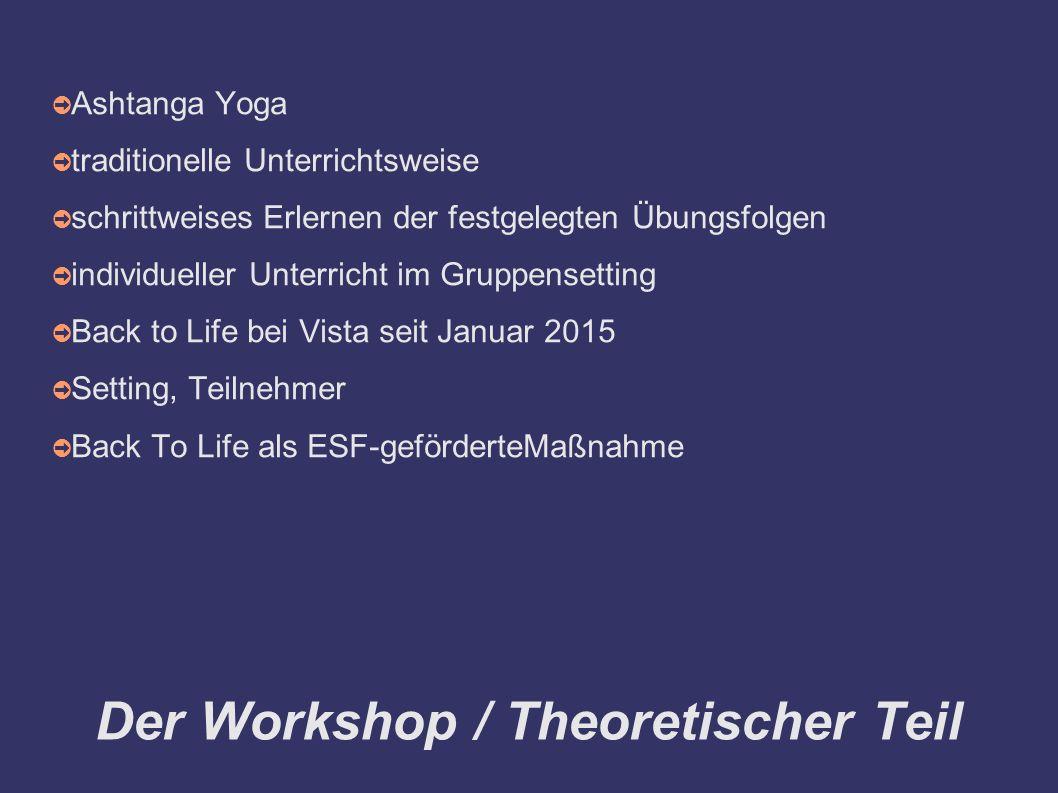 Der Workshop / Theoretischer Teil ➲ Ashtanga Yoga ➲ traditionelle Unterrichtsweise ➲ schrittweises Erlernen der festgelegten Übungsfolgen ➲ individueller Unterricht im Gruppensetting ➲ Back to Life bei Vista seit Januar 2015 ➲ Setting, Teilnehmer ➲ Back To Life als ESF-geförderteMaßnahme