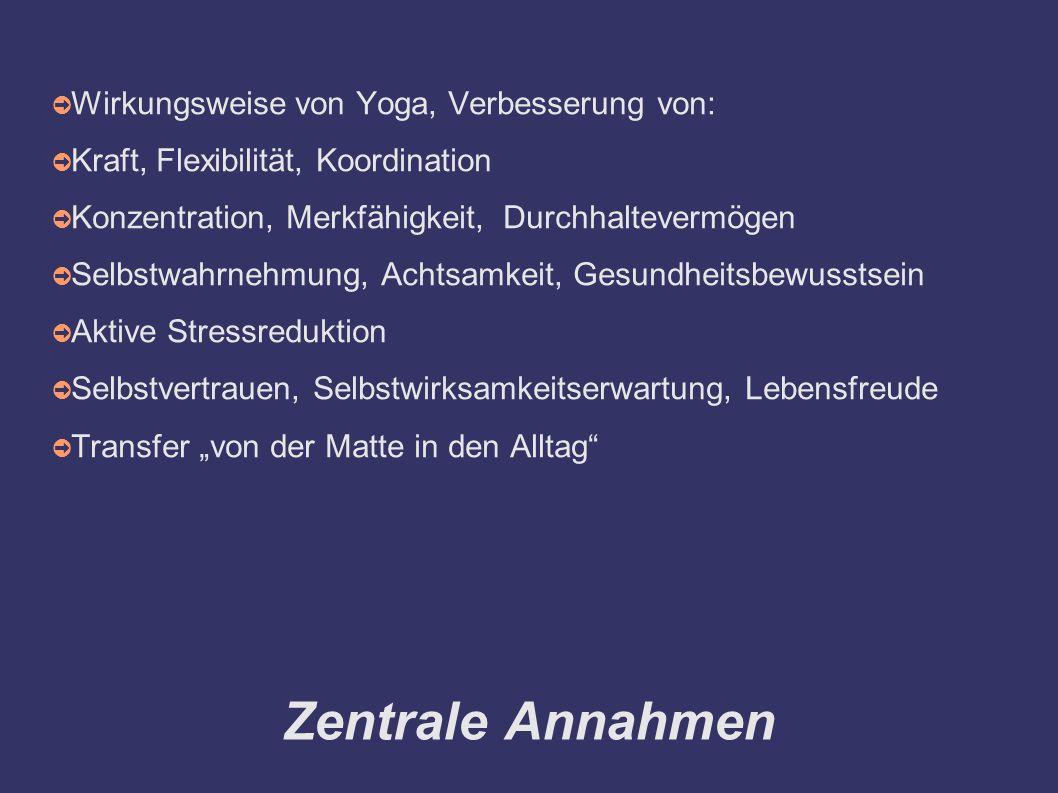 """Zentrale Annahmen ➲ Wirkungsweise von Yoga, Verbesserung von: ➲ Kraft, Flexibilität, Koordination ➲ Konzentration, Merkfähigkeit, Durchhaltevermögen ➲ Selbstwahrnehmung, Achtsamkeit, Gesundheitsbewusstsein ➲ Aktive Stressreduktion ➲ Selbstvertrauen, Selbstwirksamkeitserwartung, Lebensfreude ➲ Transfer """"von der Matte in den Alltag"""