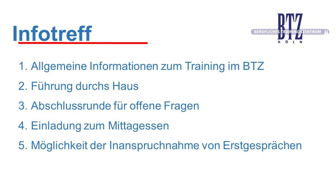 Infotreff 1.Allgemeine Informationen zum Training im BTZ 2.Führung durchs Haus 3.Abschlussrunde für offene Fragen 4.Einladung zum Mittagessen 5.Möglic