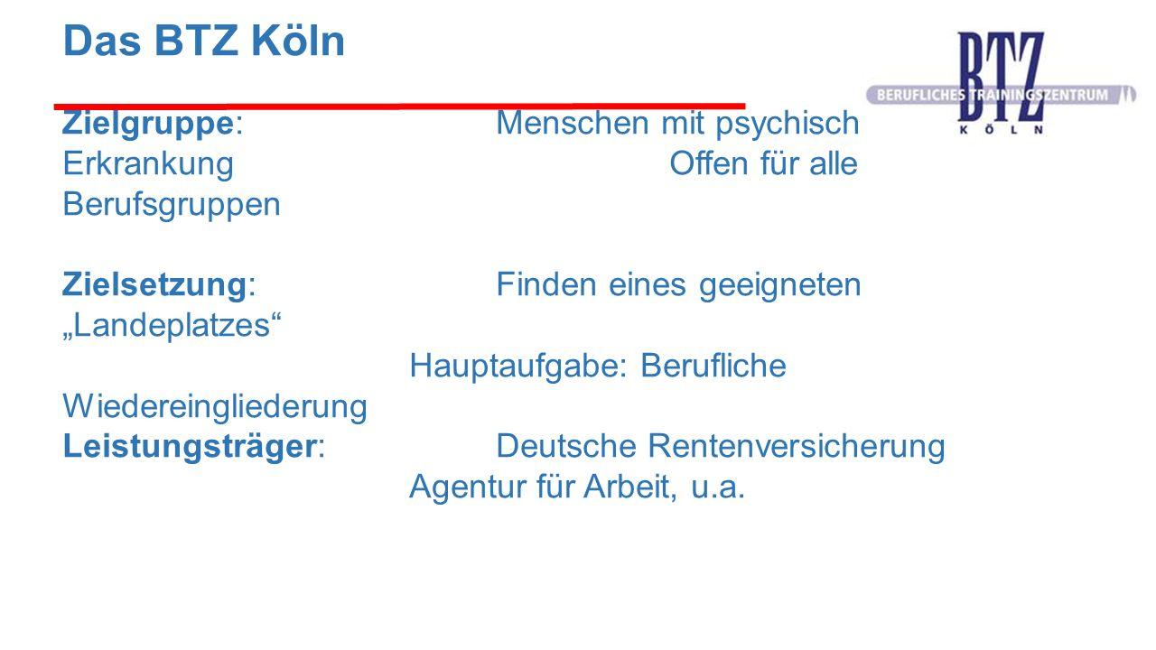 """Das BTZ Köln Zielgruppe:Menschen mit psychischer Erkrankung Offen für alle Berufsgruppen Zielsetzung: Finden eines geeigneten """"Landeplatzes"""" Hauptaufg"""