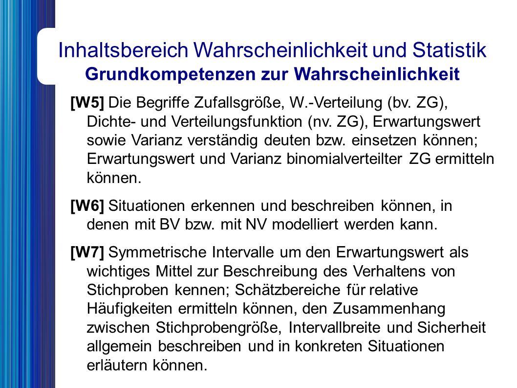 Inhaltsbereich Wahrscheinlichkeit und Statistik Grundkompetenzen zur Wahrscheinlichkeit [W5] Die Begriffe Zufallsgröße, W.-Verteilung (bv.