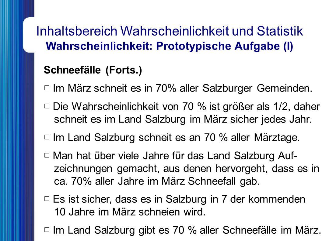 Schneefälle (Forts.) □ Im März schneit es in 70% aller Salzburger Gemeinden.