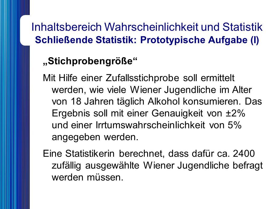 """Inhaltsbereich Wahrscheinlichkeit und Statistik Schließende Statistik: Prototypische Aufgabe (I) """"Stichprobengröße Mit Hilfe einer Zufallsstichprobe soll ermittelt werden, wie viele Wiener Jugendliche im Alter von 18 Jahren täglich Alkohol konsumieren."""