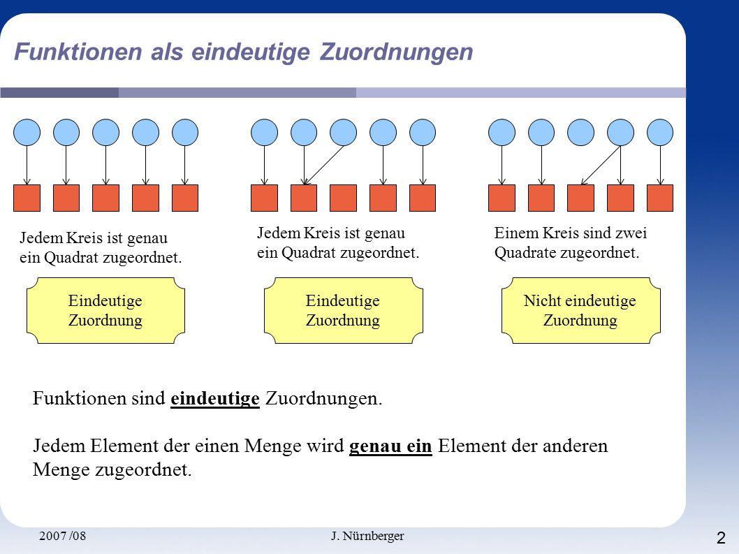 2007 /08J. Nürnberger 2 Funktionen als eindeutige Zuordnungen Jedem Kreis ist genau ein Quadrat zugeordnet. Jedem Kreis ist genau ein Quadrat zugeordn