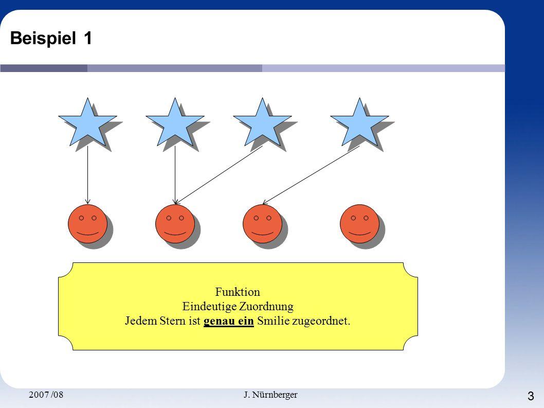 2007 /08J. Nürnberger 3 Beispiel 1 Funktion Eindeutige Zuordnung Jedem Stern ist genau ein Smilie zugeordnet.
