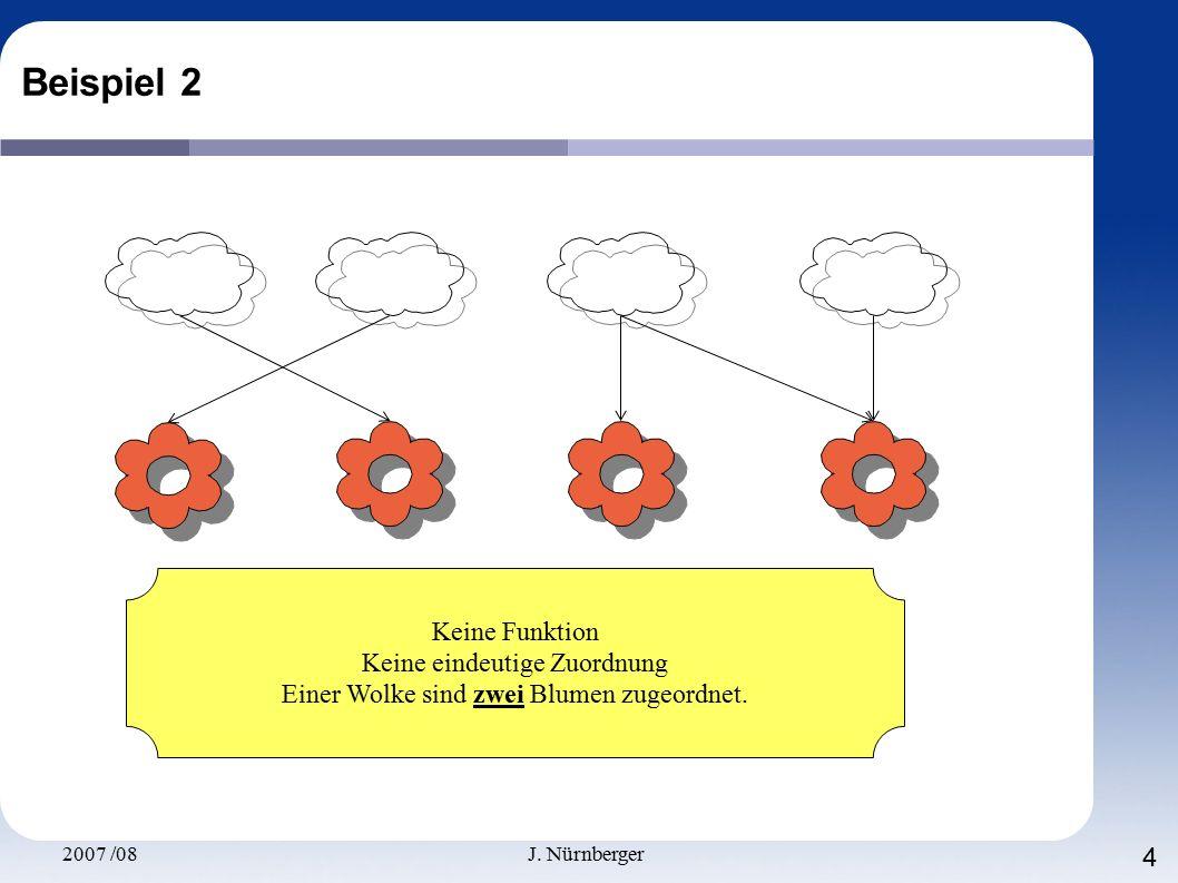 2007 /08J. Nürnberger 4 Beispiel 2 Keine Funktion Keine eindeutige Zuordnung Einer Wolke sind zwei Blumen zugeordnet.