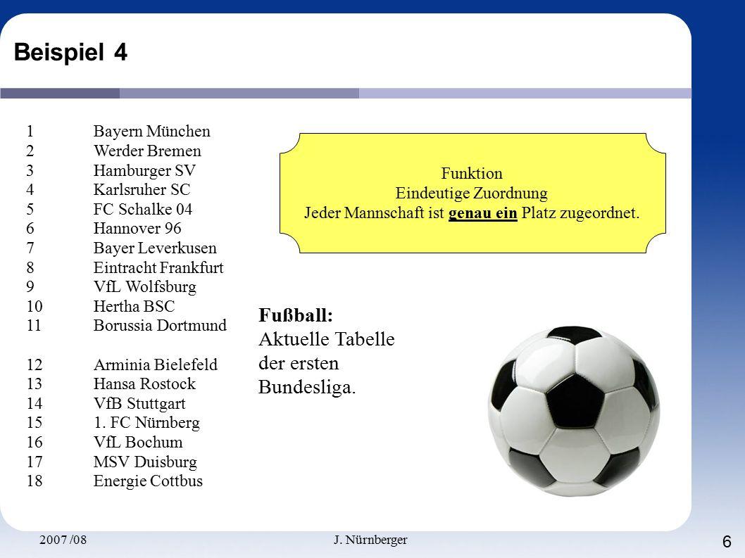 2007 /08J. Nürnberger 6 Beispiel 4 1 Bayern München 2 Werder Bremen 3 Hamburger SV 4 Karlsruher SC 5 FC Schalke 04 6 Hannover 96 7 Bayer Leverkusen 8
