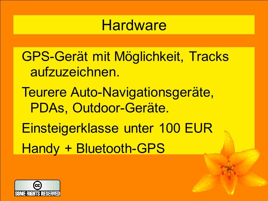 4 Hardware GPS-Gerät mit Möglichkeit, Tracks aufzuzeichnen.