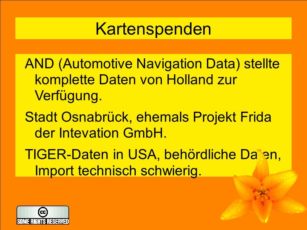 7 Kartenspenden AND (Automotive Navigation Data) stellte komplette Daten von Holland zur Verfügung.