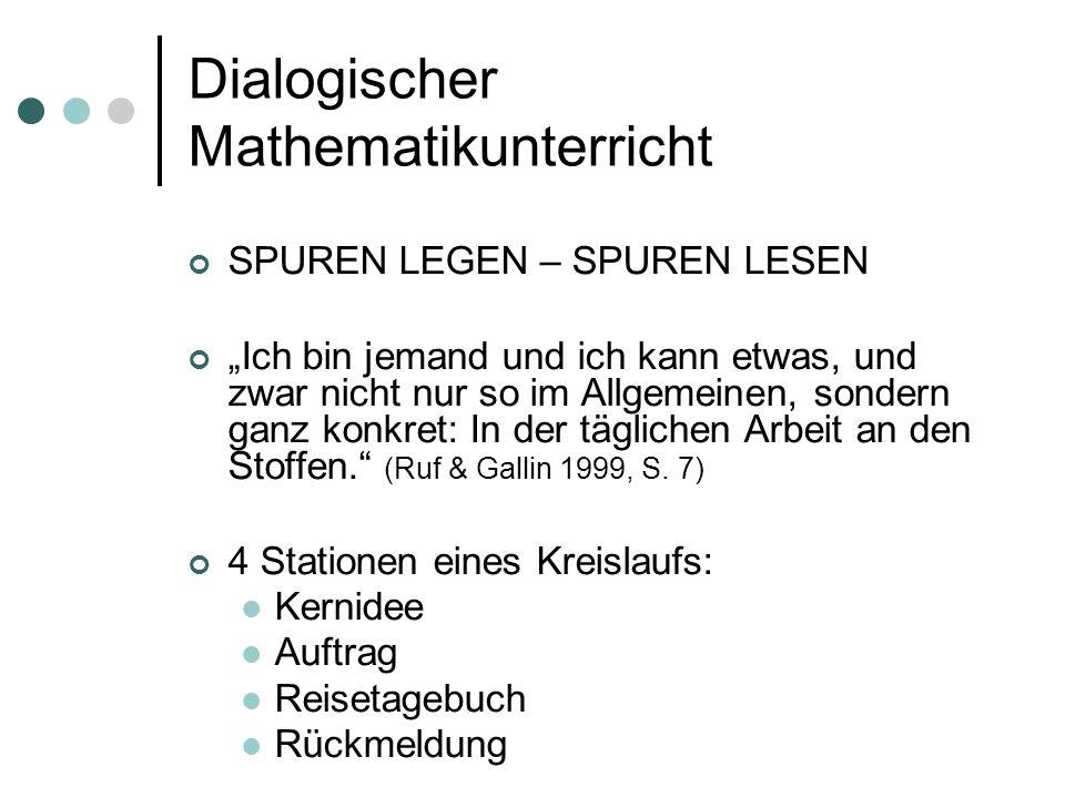 """Dialogischer Mathematikunterricht SPUREN LEGEN – SPUREN LESEN """"Ich bin jemand und ich kann etwas, und zwar nicht nur so im Allgemeinen, sondern ganz konkret: In der täglichen Arbeit an den Stoffen. (Ruf & Gallin 1999, S."""