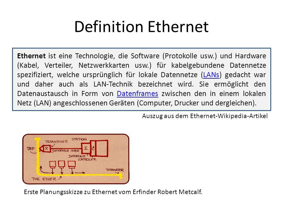 Definition Ethernet Ethernet ist eine Technologie, die Software (Protokolle usw.) und Hardware (Kabel, Verteiler, Netzwerkkarten usw.) für kabelgebundene Datennetze spezifiziert, welche ursprünglich für lokale Datennetze (LANs) gedacht war und daher auch als LAN-Technik bezeichnet wird.