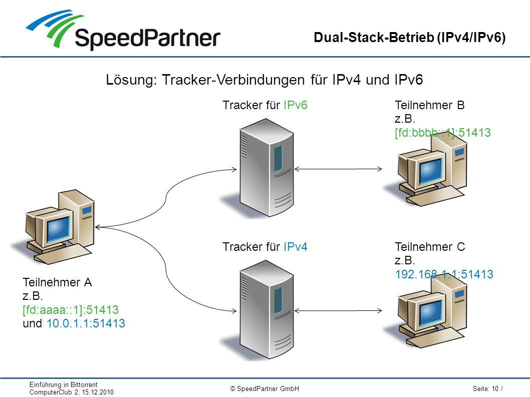 Einführung in Bittorrent ComputerClub 2, 15.12.2010 Seite: 10 / © SpeedPartner GmbH Dual-Stack-Betrieb (IPv4/IPv6) Lösung: Tracker-Verbindungen für IPv4 und IPv6 Teilnehmer A z.B.