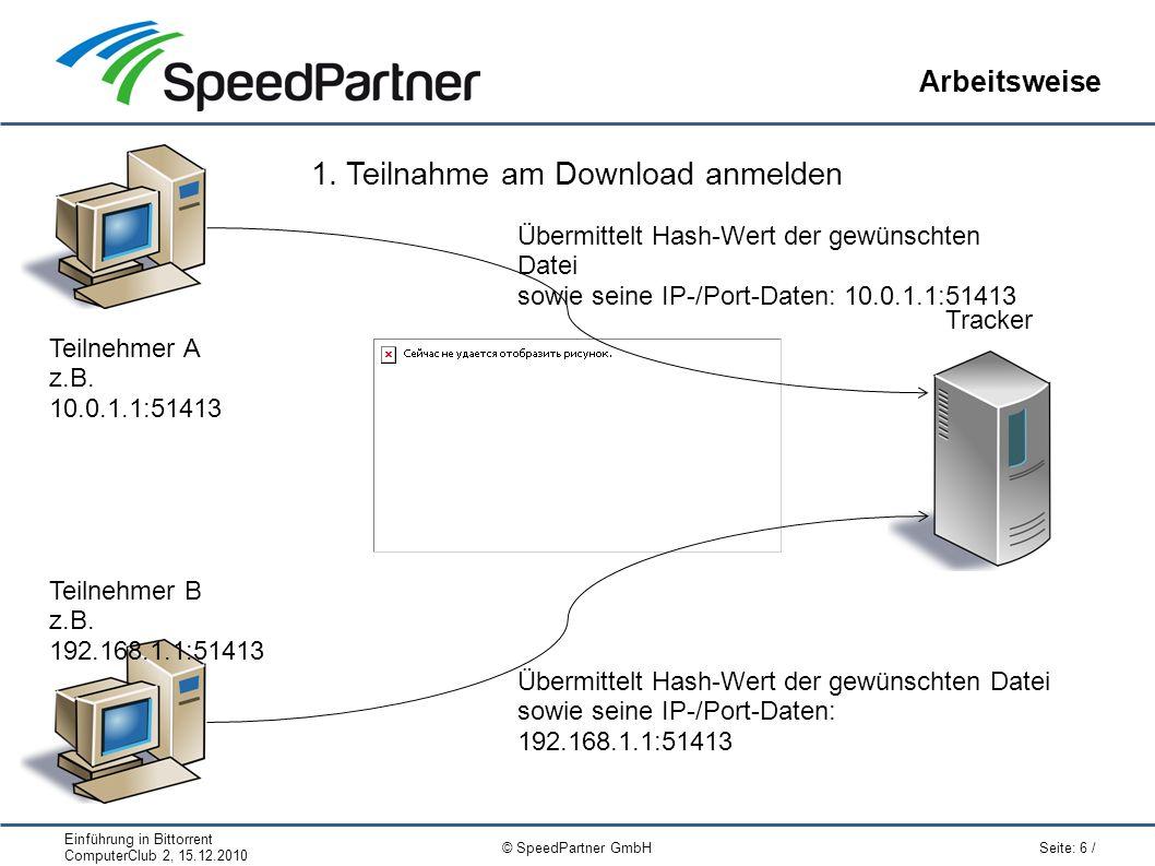 Einführung in Bittorrent ComputerClub 2, 15.12.2010 Seite: 6 / © SpeedPartner GmbH Arbeitsweise Tracker 1.