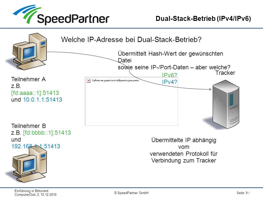 Einführung in Bittorrent ComputerClub 2, 15.12.2010 Seite: 9 / © SpeedPartner GmbH Dual-Stack-Betrieb (IPv4/IPv6) Tracker Welche IP-Adresse bei Dual-Stack-Betrieb.