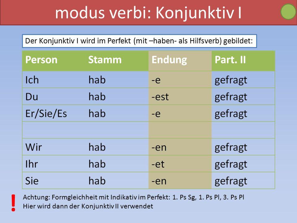 modus verbi: Konjunktiv I Der Konjunktiv I wird im Perfekt (mit –haben- als Hilfsverb) gebildet: Achtung: Formgleichheit mit Indikativ im Perfekt: 1.