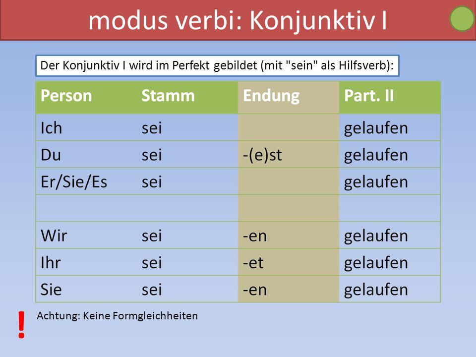 modus verbi: Konjunktiv I Der Konjunktiv I wird im Perfekt gebildet (mit sein als Hilfsverb): Achtung: Keine Formgleichheiten !