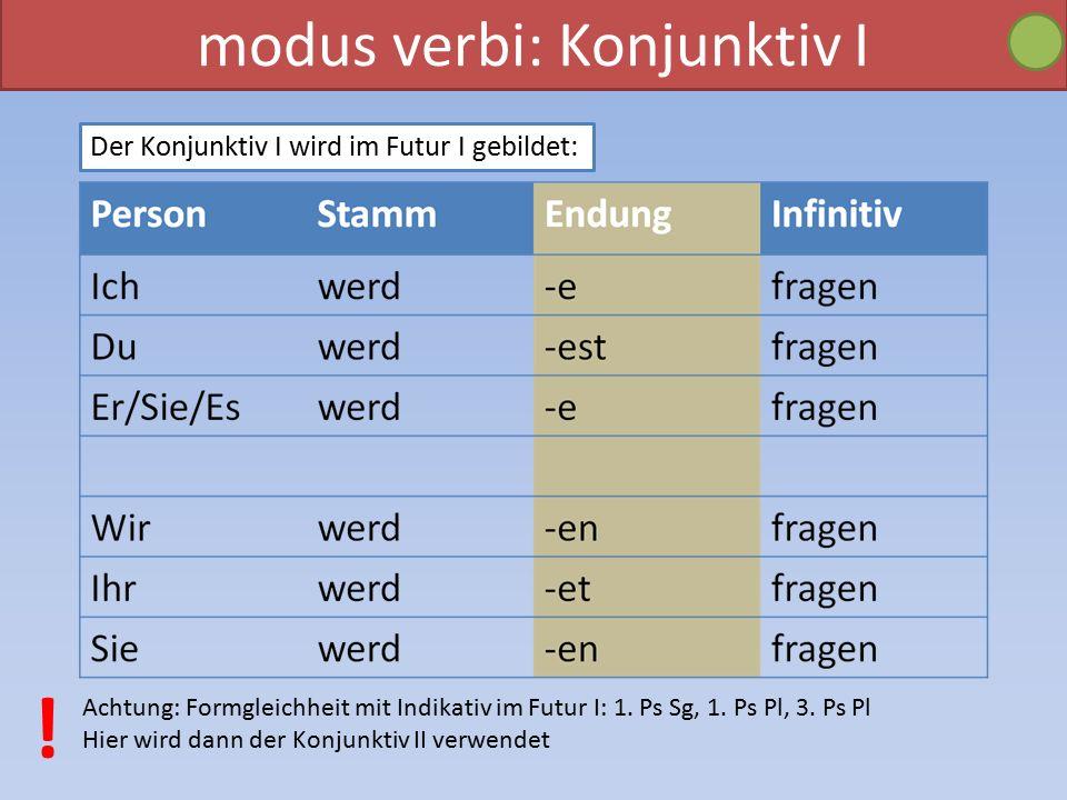 modus verbi: Konjunktiv I Der Konjunktiv I wird im Futur I gebildet: Achtung: Formgleichheit mit Indikativ im Futur I: 1.