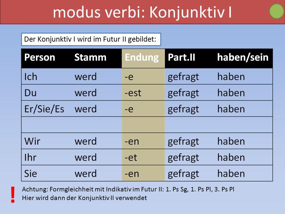 modus verbi: Konjunktiv I Der Konjunktiv I wird im Futur II gebildet: Achtung: Formgleichheit mit Indikativ im Futur II: 1.