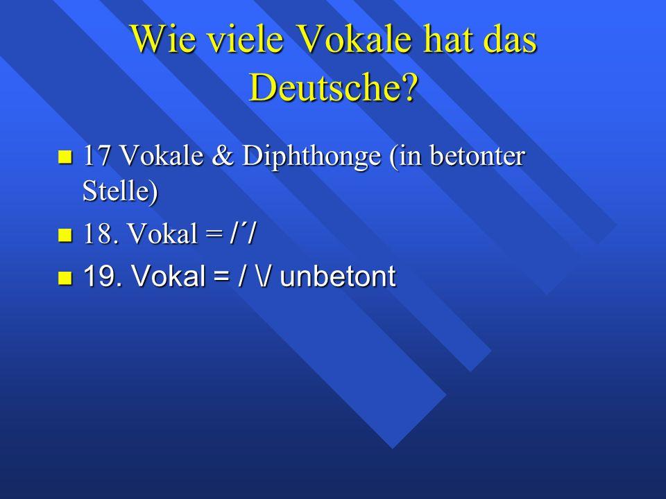 die deutschen Vokale Warum beginnt Moulton seine Diskussion der Vokale mit den deutschen Vokalen.