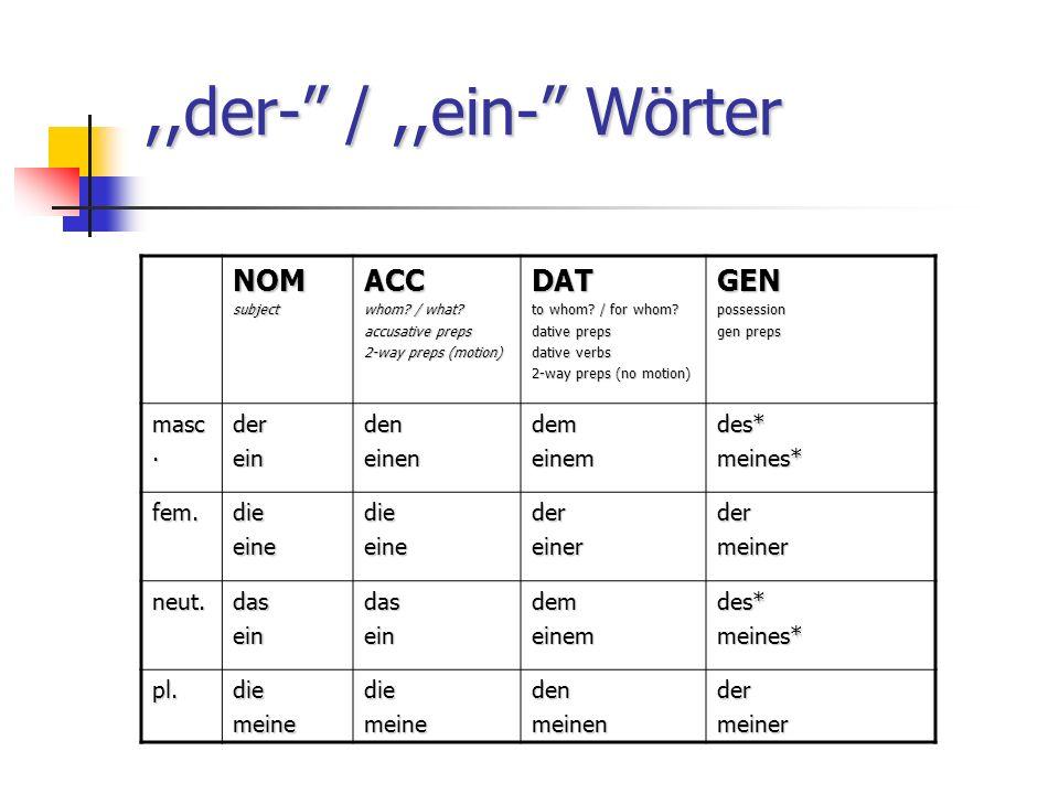 ,,der- /,,ein- Wörter NOMsubjectACC whom. / what.
