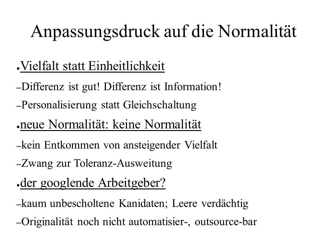 Anpassungsdruck auf die Normalität ● Vielfalt statt Einheitlichkeit – Differenz ist gut.