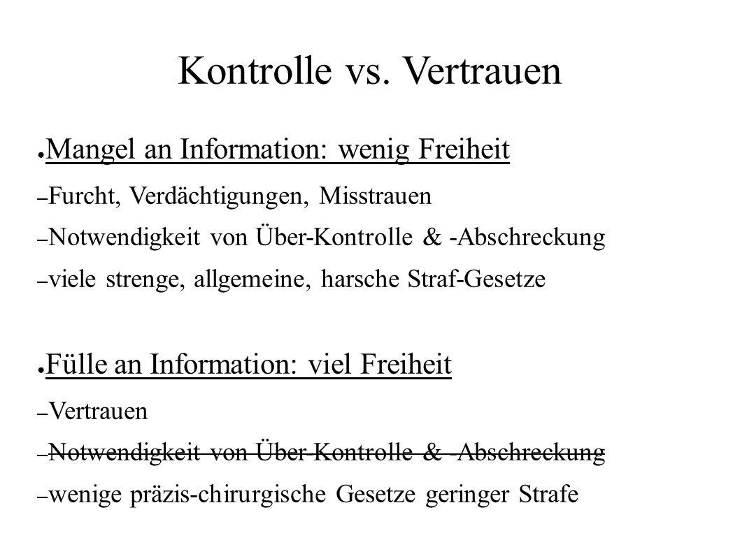 Kontrolle vs. Vertrauen ● Mangel an Information: wenig Freiheit – Furcht, Verdächtigungen, Misstrauen – Notwendigkeit von Über-Kontrolle & -Abschrecku