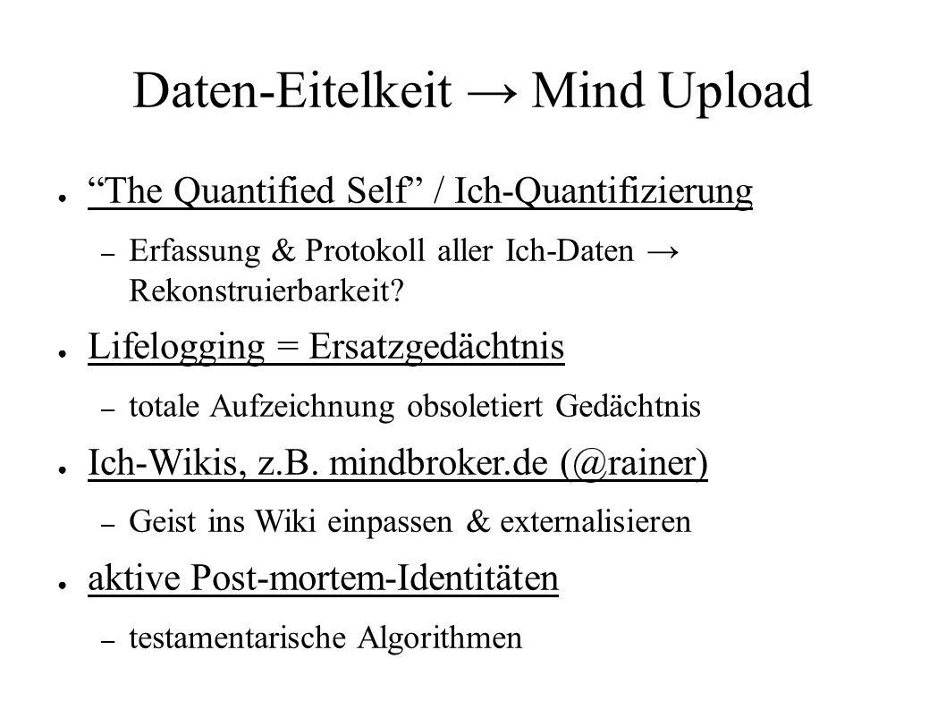 Daten-Eitelkeit → Mind Upload ● The Quantified Self / Ich-Quantifizierung – Erfassung & Protokoll aller Ich-Daten → Rekonstruierbarkeit.