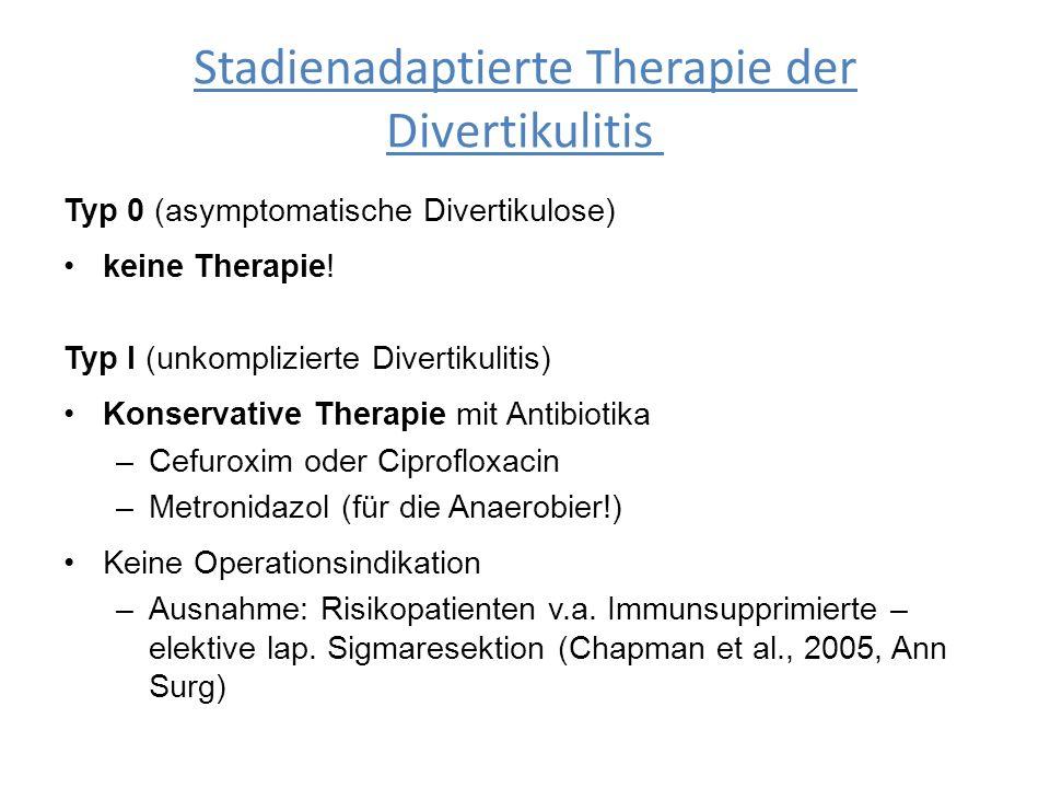 Stadienadaptierte Therapie der Divertikulitis Typ 0 (asymptomatische Divertikulose) keine Therapie! Typ I (unkomplizierte Divertikulitis) Konservative