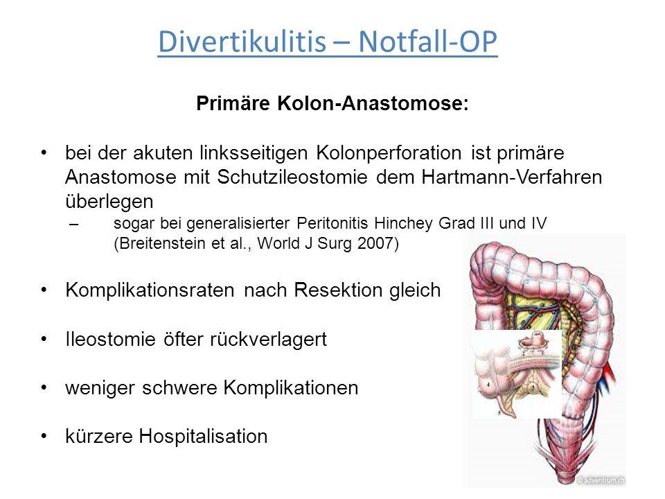 Primäre Kolon-Anastomose: bei der akuten linksseitigen Kolonperforation ist primäre Anastomose mit Schutzileostomie dem Hartmann-Verfahren überlegen –