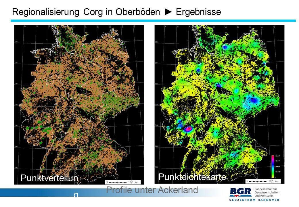 Regionalisierung Corg in Oberböden ► Ergebnisse Punktverteilun g Punktdichtekarte Profile unter Ackerland