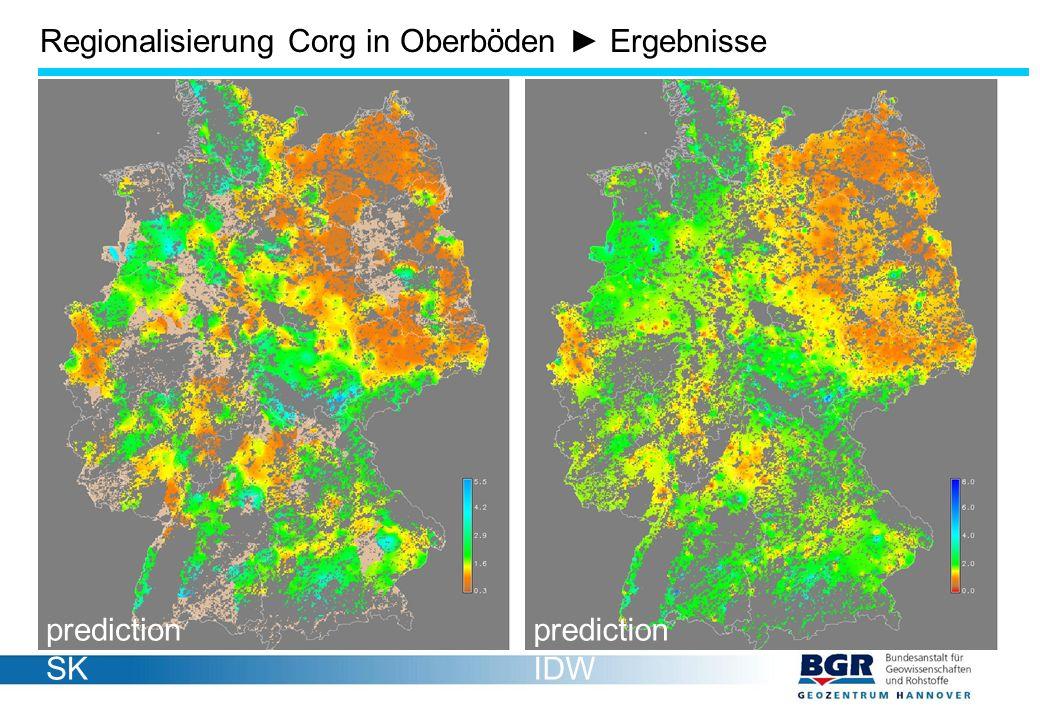 Regionalisierung Corg in Oberböden ► Ergebnisse prediction SK prediction IDW