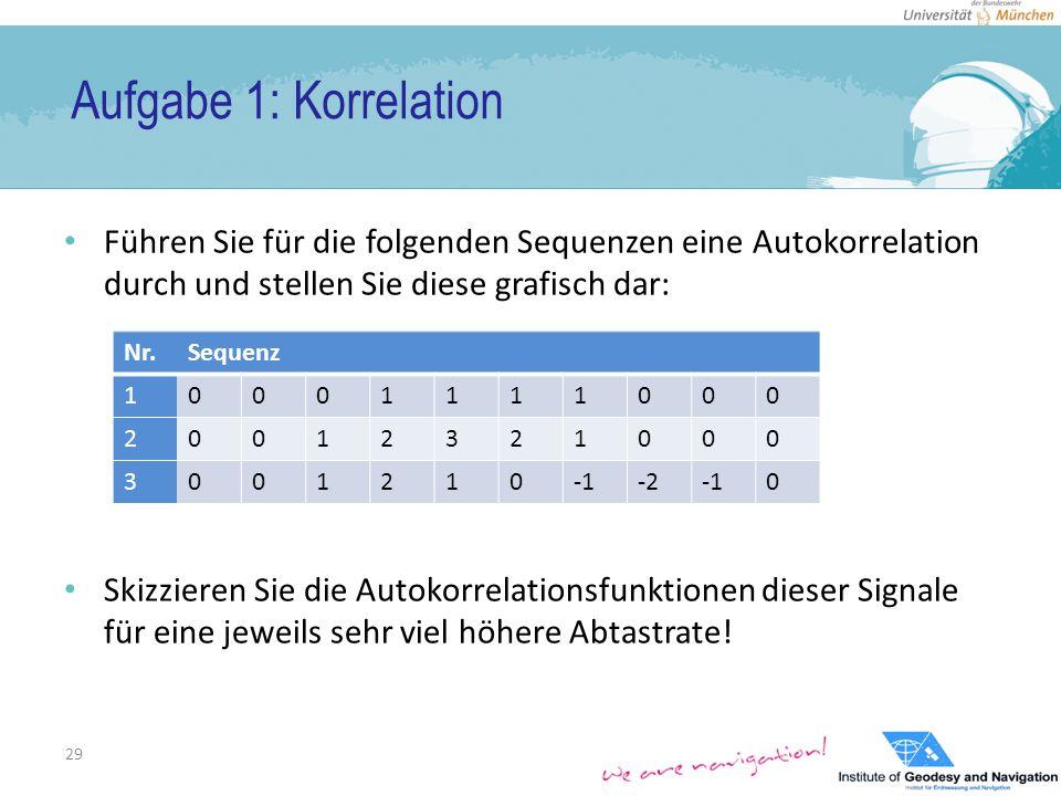 Aufgabe 1: Korrelation Führen Sie für die folgenden Sequenzen eine Autokorrelation durch und stellen Sie diese grafisch dar: Skizzieren Sie die Autokorrelationsfunktionen dieser Signale für eine jeweils sehr viel höhere Abtastrate.