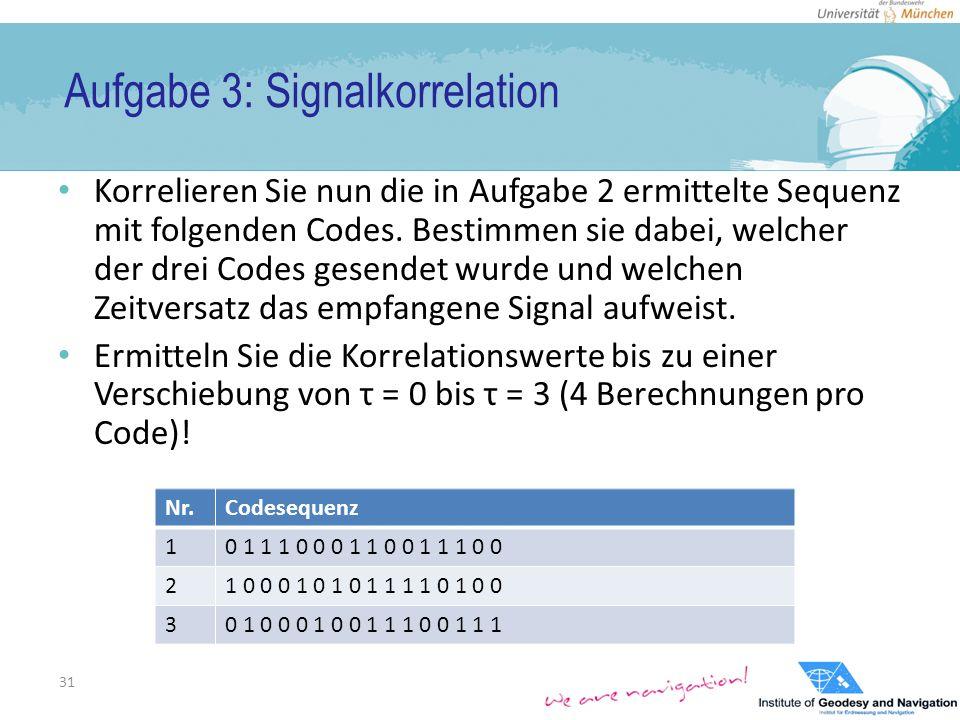Aufgabe 3: Signalkorrelation Korrelieren Sie nun die in Aufgabe 2 ermittelte Sequenz mit folgenden Codes.