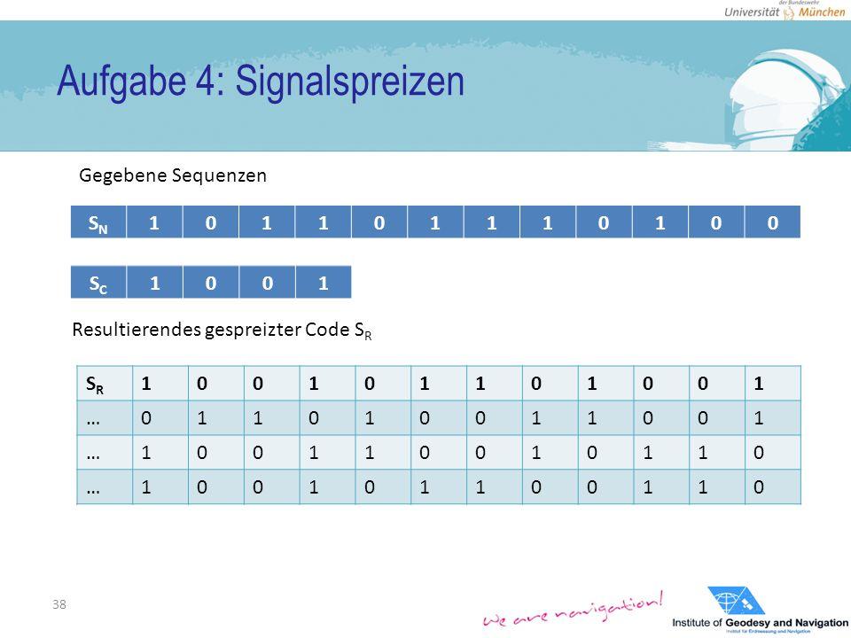 Aufgabe 4: Signalspreizen 38 SNSN 101101110100 SCSC 1001 Gegebene Sequenzen Resultierendes gespreizter Code S R SRSR 100101101001 …011010011001 …100110010110 …100101100110