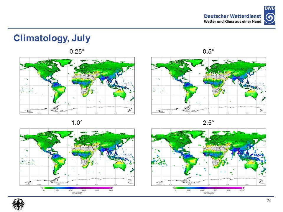 Climatology, July 0.25° 1.0° 0.5° 2.5° 24