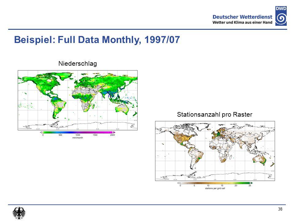 Beispiel: Full Data Monthly, 1997/07 Niederschlag Stationsanzahl pro Raster 38