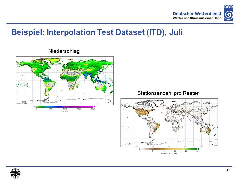 Beispiel: Interpolation Test Dataset (ITD), Juli Niederschlag Stationsanzahl pro Raster 39