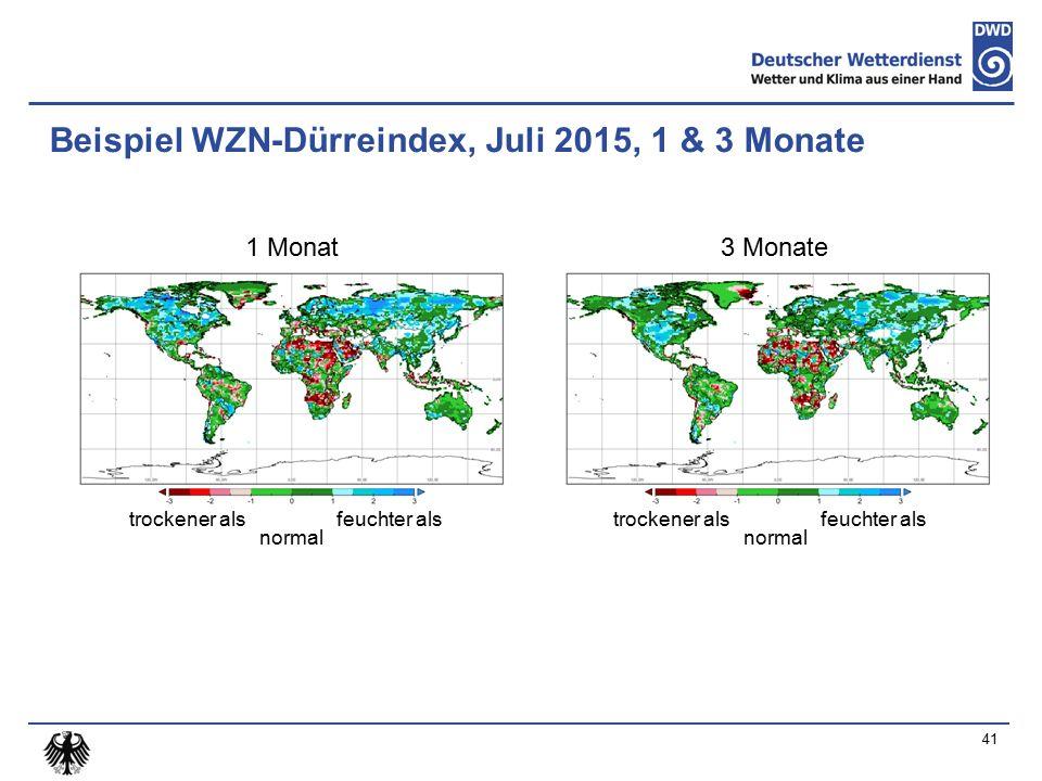Beispiel WZN-Dürreindex, Juli 2015, 1 & 3 Monate normal feuchter alstrockener als 1 Monat3 Monate normal feuchter alstrockener als 41
