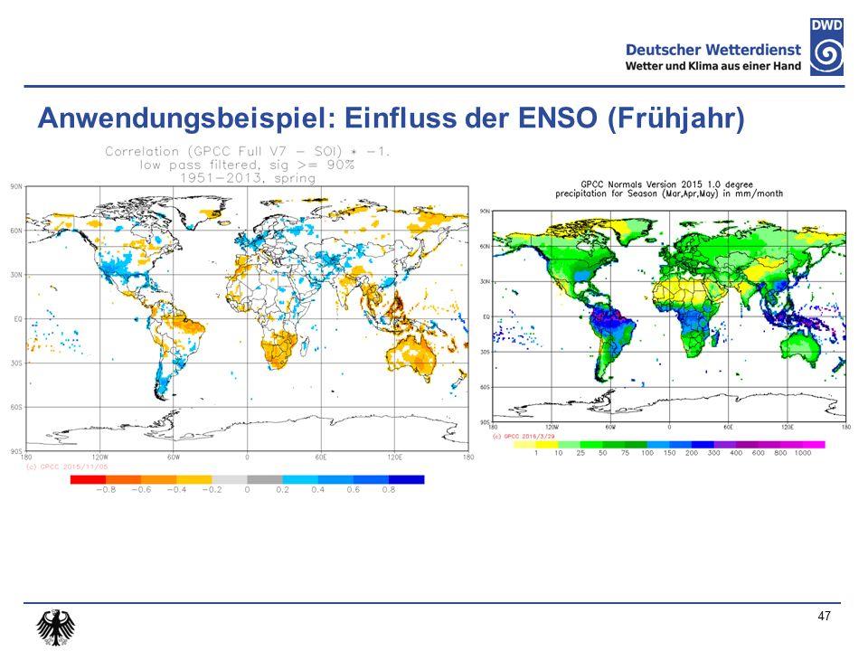 Anwendungsbeispiel: Einfluss der ENSO (Frühjahr) 47